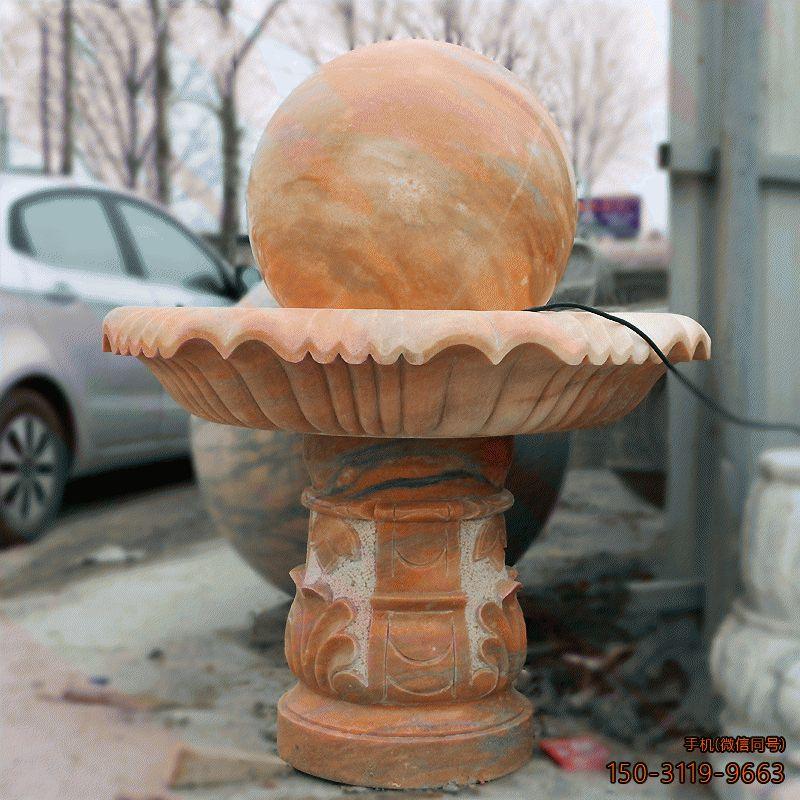 石雕风水球_晚霞红公园广场装饰构件