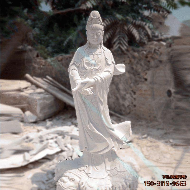 汉白玉石雕观音像