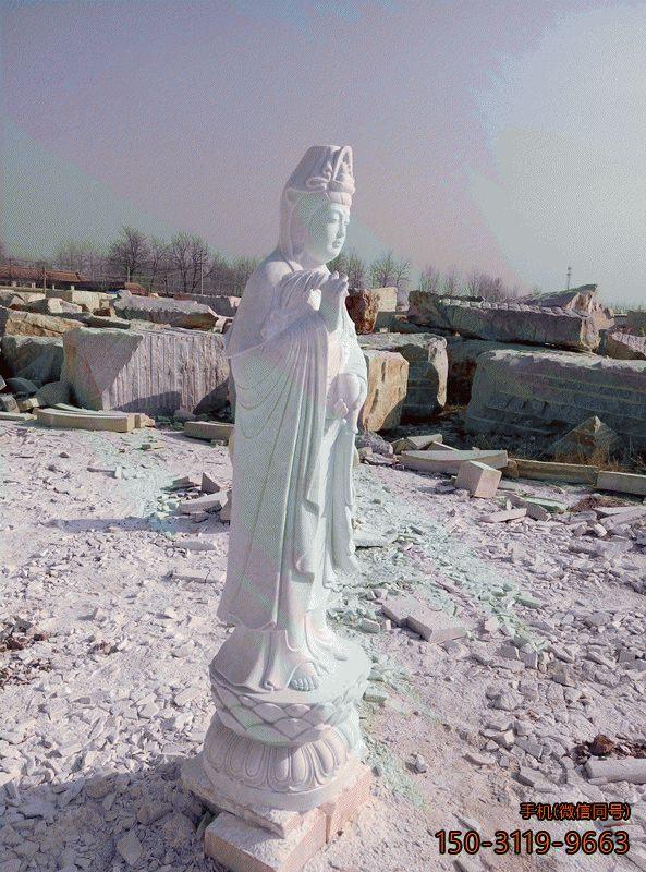 汉白玉观音菩萨雕像 石雕观音雕像