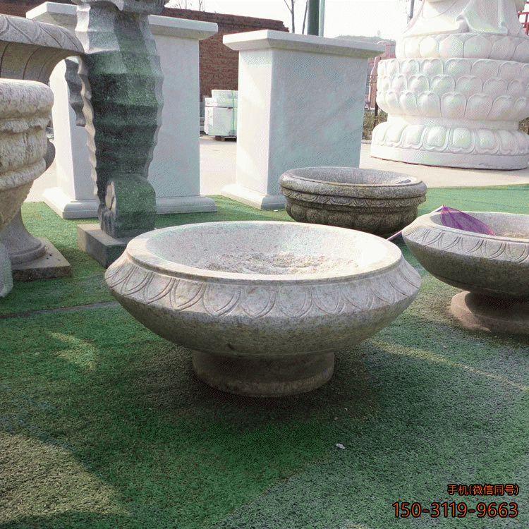 黄锈石花盆_公园园林装饰构件