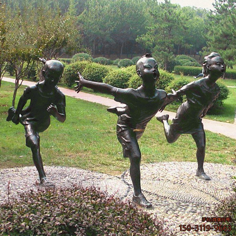 奔跑的小孩铜雕小品_专业厂家加工制作
