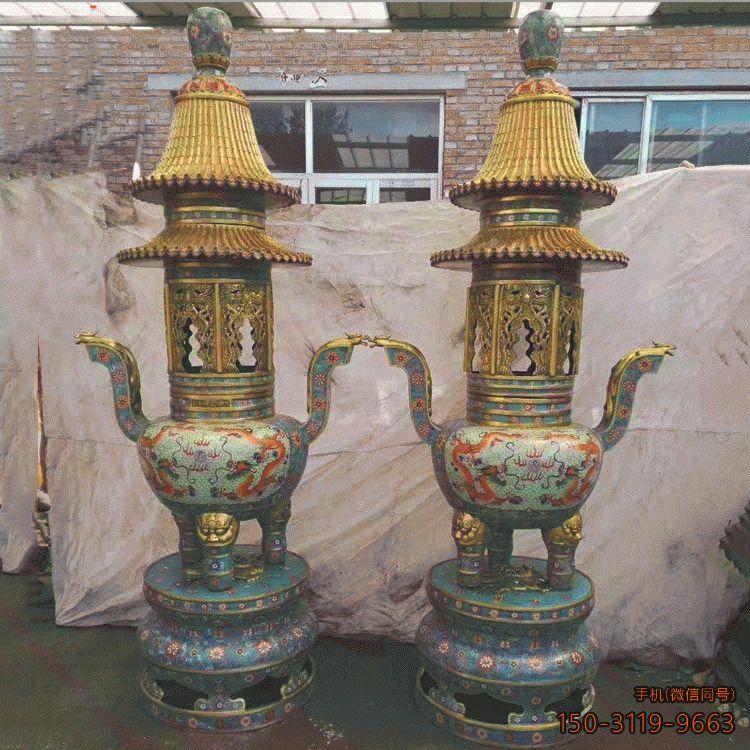 仿景泰蓝寺庙香炉