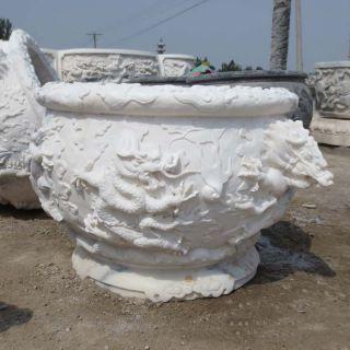 精品鱼缸九龙壁浮雕石雕盆