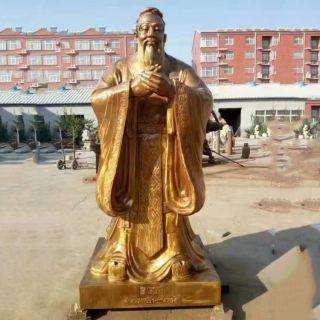 鎏金孔子铜雕像_企业校园历史名人塑像