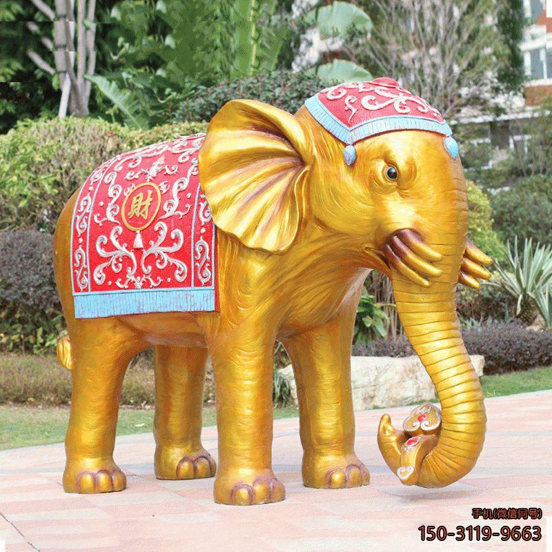 泰式花纹六牙元宝大象