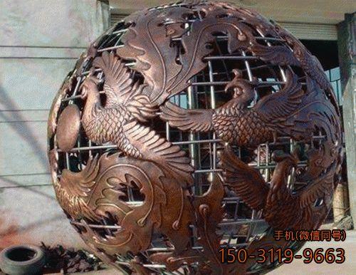 凤凰镂空球_锻铜城市广场景观球