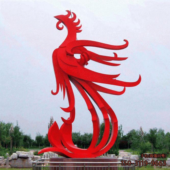 红色凤凰景观_不锈钢抽象城市景观