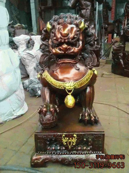 彩绘铜狮子_铸铜仿古彩绘动物雕塑