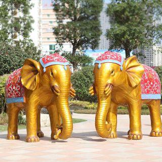 泰式花纹六牙大象_景区公园仿铜彩绘动物