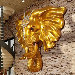 玻璃钢仿铜大象壁挂装饰摆件