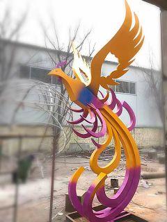 彩色凤凰_企业广场抽象不锈钢动物雕塑