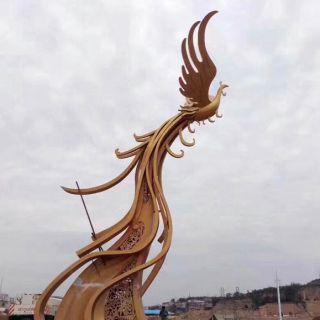 不锈钢广场凤凰景观_城市景区景点景观雕塑