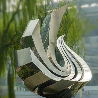 不锈钢抽象凤凰_公园校园动物标志性雕塑