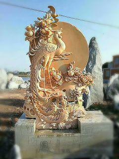 石刻凤凰景观_商场企业动物浮雕景观摆件
