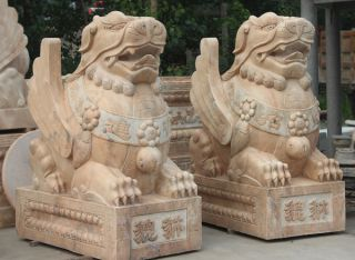 辟邪貔貅石雕_晚霞红大理石动物雕塑