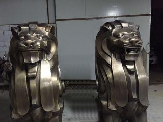 抽象铜狮子动物雕塑