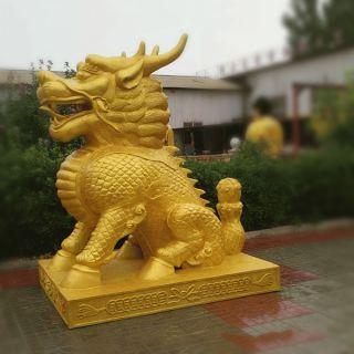 鎏金麒麟雕塑_商场企业大门看门动物铜雕