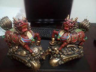 招财麒麟铜雕彩绘工艺品雕塑