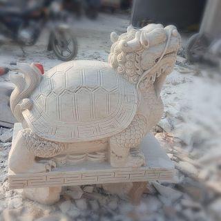 晚霞红龙龟石雕