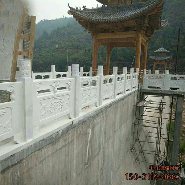 汉白玉石雕栏板_景区路桥雕花栏杆定制