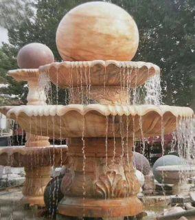 晚霞红风水球喷泉石雕