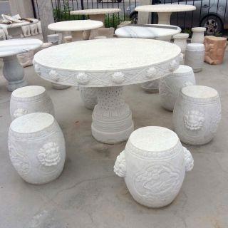 石桌凳_汉白玉雕花园林石雕桌凳