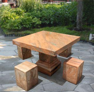 方形石桌凳_晚霞红简约方桌凳
