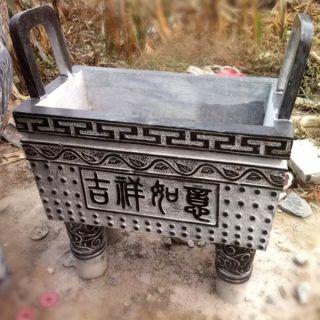 青石四方鼎_石雕寺庙香炉鼎