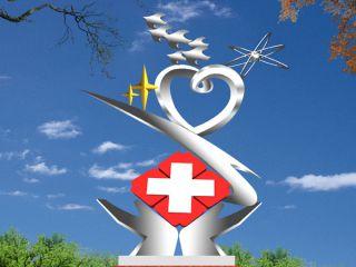 红十字_医院不锈钢标志性雕塑
