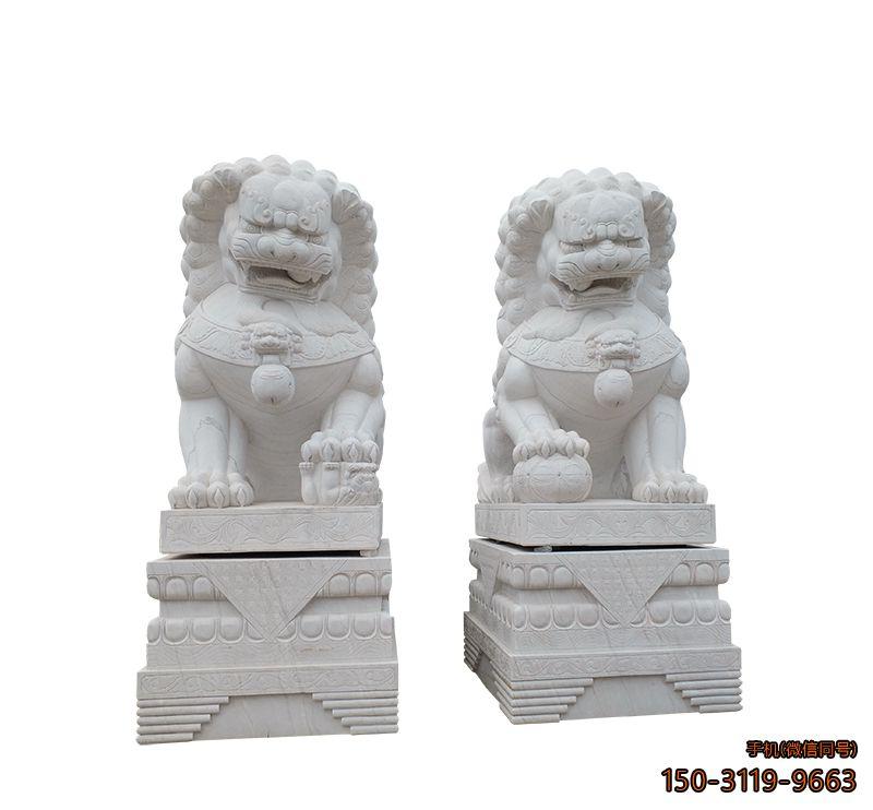 北京狮_汉白玉大理石动物雕塑