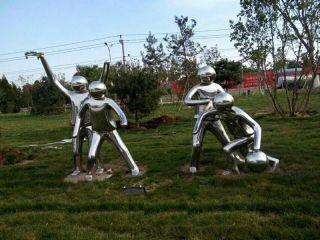 打篮球的小孩_公园不锈钢体育人物雕塑