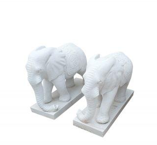 汉白玉大象_城市园林动物大象雕塑