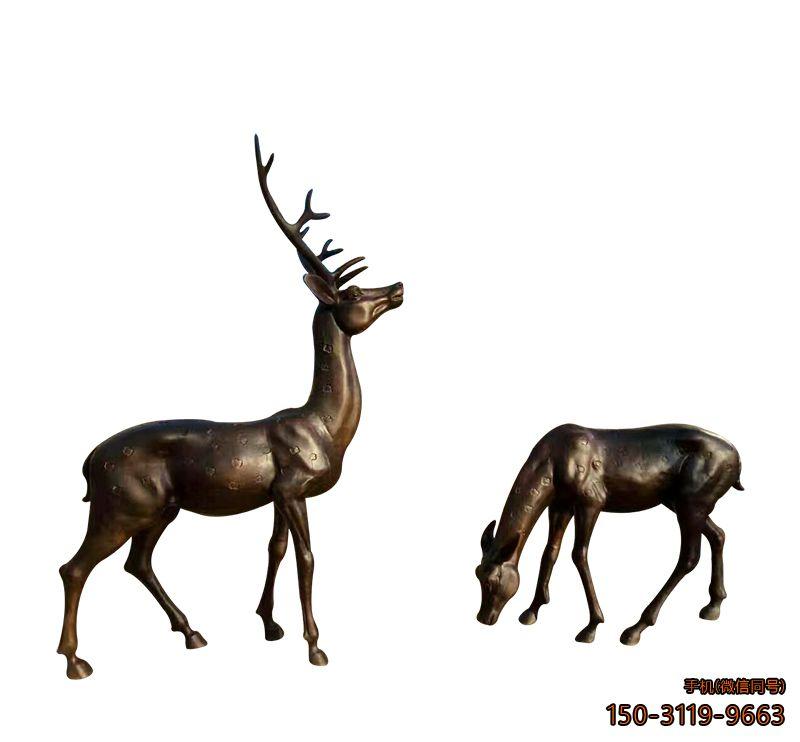 广场梅花鹿动物铜雕