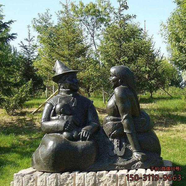 和谐一家_公园一家三口人物景观雕塑
