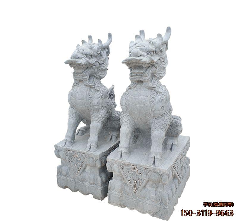 青石麒麟_城市企业门口动物麒麟石雕