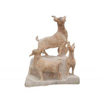 晚霞红三羊开泰_园林动物景观石雕