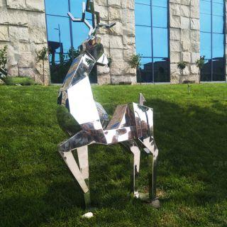 不锈钢抽象鹿_景区公园园林动物摆件