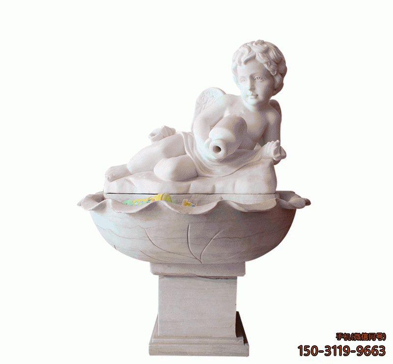 小孩石雕流水池_公园庭院孩童人物雕塑