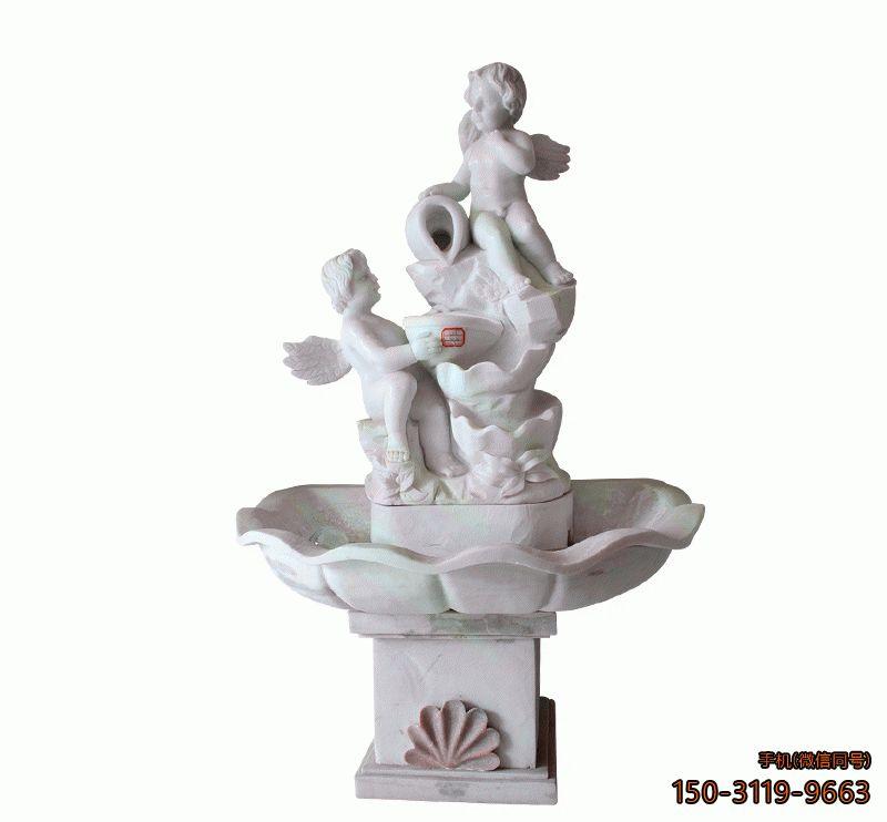 小天使流水池_广场园林庭院玻璃钢景观雕塑