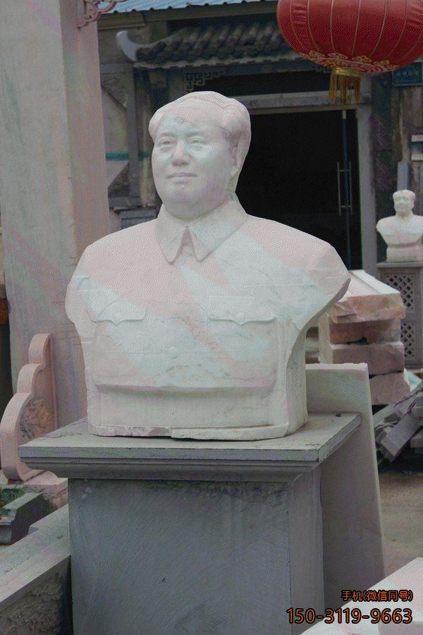 汉白玉毛主席胸像_当代历史伟人塑像