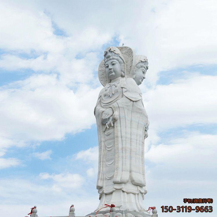 大型石雕观音三面观音雕塑