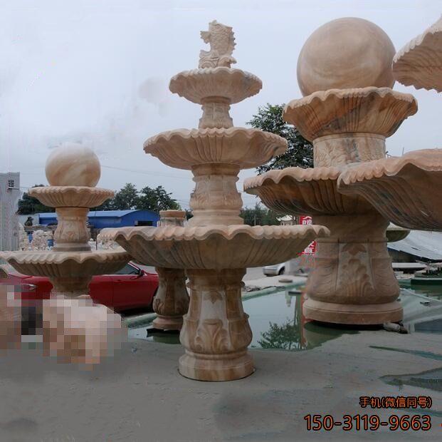 风水球喷泉晚霞红石雕鱼喷泉