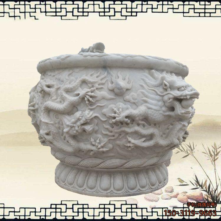 汉白玉龙浮雕水缸仿古水缸