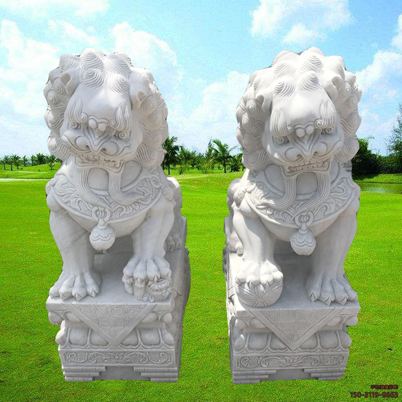 汉白玉狮子小型镇宅狮石雕
