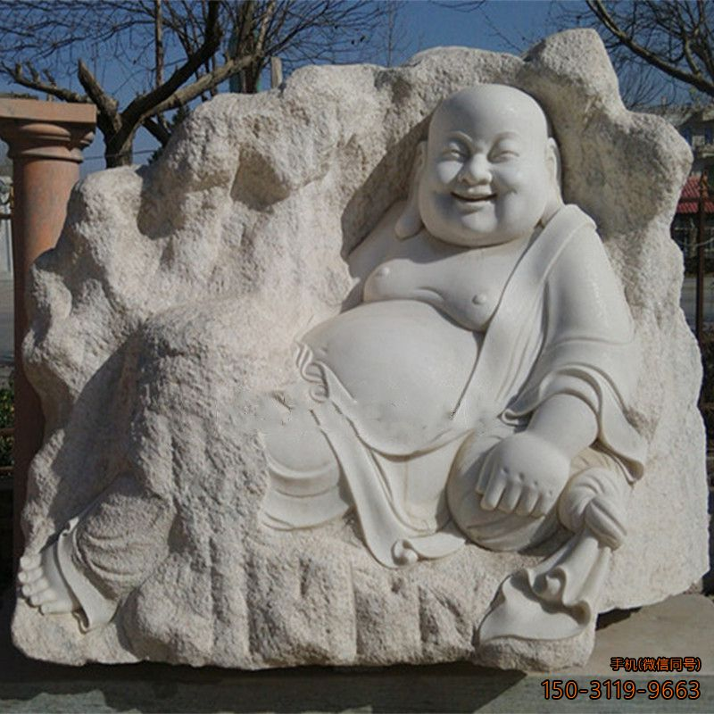弥勒佛汉白玉佛像浮雕