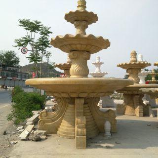 黄锈石石雕喷泉