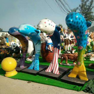 彩绘海豚雕塑玻璃钢景观摆件
