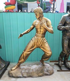 功夫名人李小龙铜雕塑像