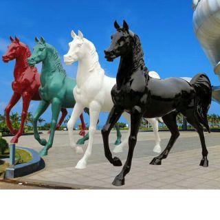 彩绘马雕塑玻璃钢动物雕塑
