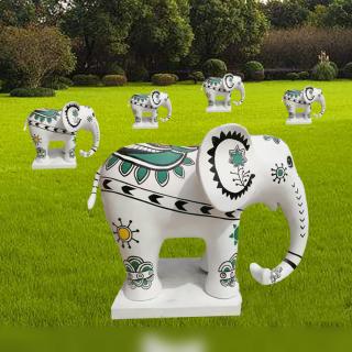彩绘小象摆件玻璃钢公园动物雕塑
